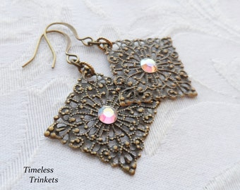 1/2 price sale, Brass Lace Earrings with Iridescent Swarovski Crystal