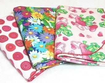 Flannel Swaddling Blanket Set of Three (3) - Flannel Receiving Blanket Set -  Nursing Cover - Security Blanket - Baby Shower Gift