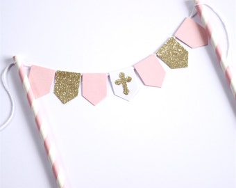 Baptism Christening Cake Bunting Topper Pink Gold Glitter and White