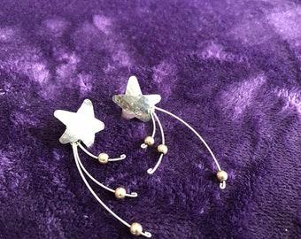 Retro Sterling Silver Shooting Star Earrings