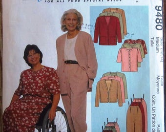 Misses Easy Comfort Dressing Cardigan in Two Lengths, Top, Pull-on Pants and Skirt Size Medium 12,14 McCalls Pattern 9480 UNCUT