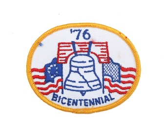 """Vintage American Bicentennial 1776-1976 America Flag USA Liberty Bell Embroidered Patch 3"""" x 3.75"""""""