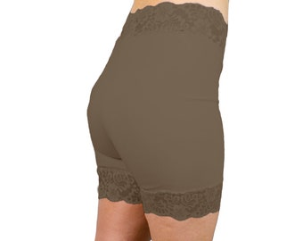 Dark Brown Bamboo Biker Shorts Organic Lace Tap Pants Anti Chafe Shorties Cute Yoga Pants Soft Pajama Bottoms