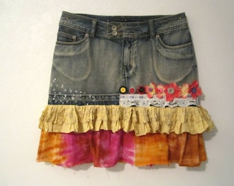 Altered couture skirt, Boho, Goth upcycled skirt, Adorned denim skirt, Size S/M