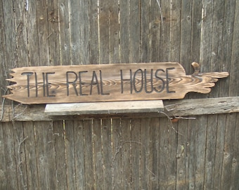 Custom Large Wood pointing finger sign - CUSTOM - hand carved -- rustic un painted -- reclaimed western cedar