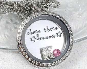 Personalized Locket, Chase Your Dreams, Graduation Gift, Inspirational Necklace, Follow Your Dreams, Inspirational Jewelry, Sister Grad Gift
