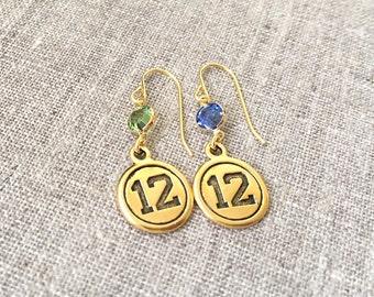 Seahawks inspired gold earrings / Gold plated Seattle Seahawks earrings / Swarovski crystal Seahawks earrings