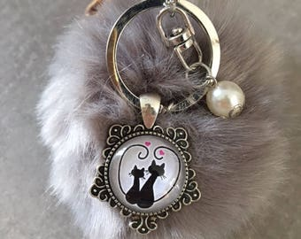 Cat - Bag charm with tassel fur cabochon glass 20mm
