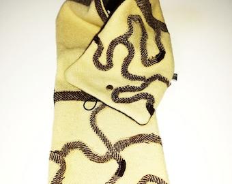 SCARF wool and cashmere ecru/Brown