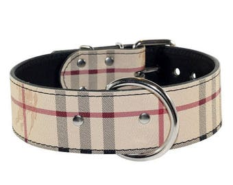 Plaid Leather Dog Collar - Classic plaid leather dog collar -Designer Leather Dog Collar - Made In Usa