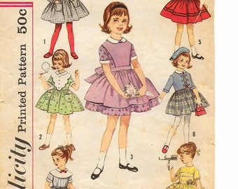 """A Back Close, Full Skirt Dress w/Suspenders, Apron, Collar, Jacket & Trim Variations Pattern for Children: Size 2 Breast 21""""•Simplicity 4058"""