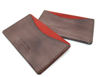 Card Factory, Business Card Holders, Leather case for business cards and credit cards, Cognac