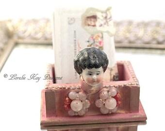Girly Business Card Holder Pink Frozen Charlotte China Doll Head Business Card Holder For Desk Lorelie Kay Original