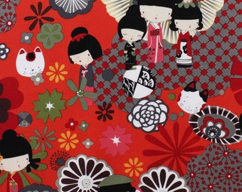 Custom listing - Reserved for Jessica - Alexander Henry Kaori Kokeshi Red OOP Fabric - 3 yards