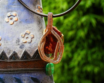 Red jasper and green aventurine wire wrapped pendant, snake design