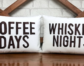 50% OFF Sale His and Hers Mr and Mrs Coffee Days Whiskey Nights Pillow, READY To Ship, Valentine, Couple, Wedding , Anniversary Gift