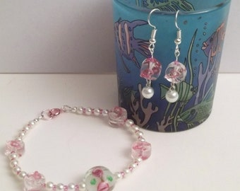 Pink Breast Cancer Awarness Bracelet and Earrings