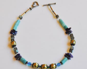 Amazonite, Amethyst and Czech glass beaded necklace