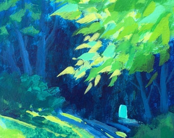 Landscape Painting, woodland, meadow, green, yellow, aqua