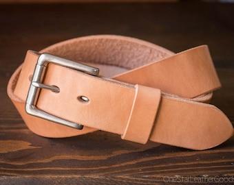 "Custom sized belt - 1.5"" width - THICK 12 oz. tan harness leather - heel bar buckle"