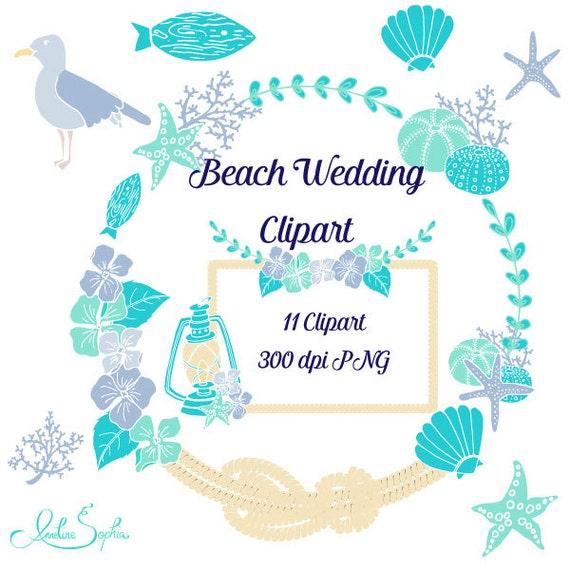 beach wedding clipart nautical wedding invitation clip art sea rh etsy com Beach Wedding Congratulations Beach Wedding Invitations