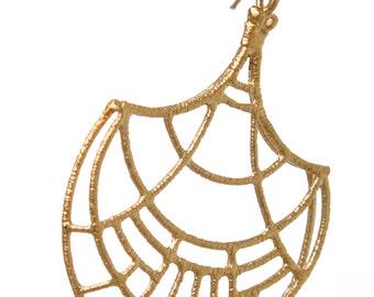 Geometric gold earrings - Gold statement earrings - Large ethnic earrings - SALE - Papirus earrings - gift for her - handmade Jewelry