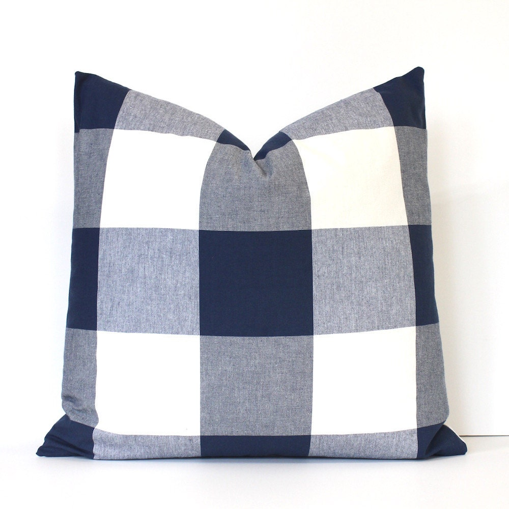 Large Navy Blue Check Designer Pillow Cover Accent Throw