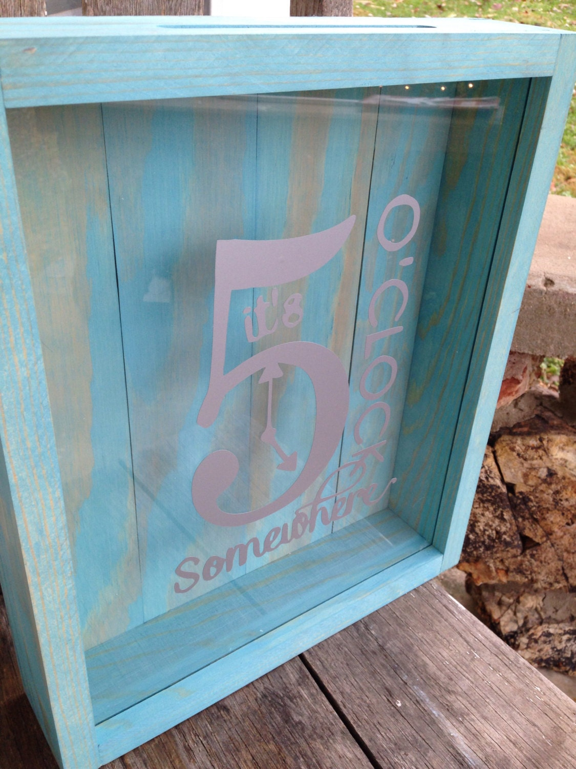 Personalized Shadow Box Its 5 Oclock Somewhere Wine Cork