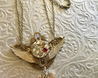 Dragons, Steampunk Necklace, Steampunk Jewelry, Birthstone Jewelry,  Steampunk Art, Cosplay, Steampunk Costume, Gothic, Neo Victorian,