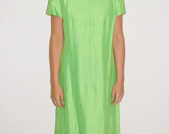 Vintage Vtg 60's 70's Green Beaded Cocktail Shift Dress by Andrea Gayle Size M/L