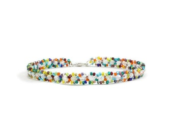 Multicolored Anklet - Bead Ankle Bracelet - Seed Bead Foot Jewelry - Beach Anklet- Summer Jewelry - Colorful Anklet - Beadwork Jewelry