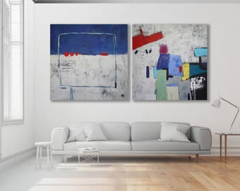Set Of Abstract Paintings / Abstract Art / Pair of Abstract Paintings / Blue and Grey Abstract Art Set / XL Set of Paintings