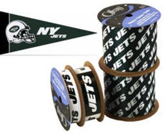 NFL New York Jets Ribbon, 4-pack of Ribbon & Mini Pennant, Licensed NFL Offray Ribbon