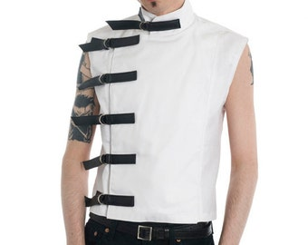 White Buckle Top goth gothic menswear cyber fetish clubwear industrial sci-fi fantasy costume steampunk fetishwear