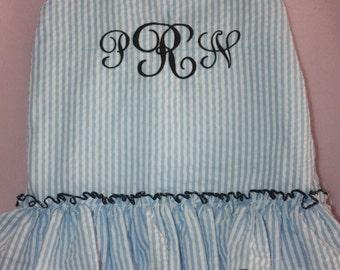 Sale Monogram Seersucker swimsuit for your Little Girl  1 piece  2 piece navy red green pink light blu aque