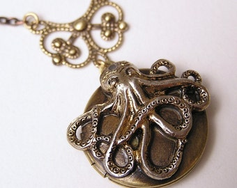 Steampunk OCTOPUS LOCKET, Necklace Pendant, Victorian