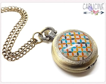 Geometric shapes Pocket Watch Necklace - Necklace watch bronze - Glass dome geometric shapes