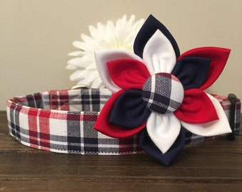 Dog collar, Patriotic dog collar, american dog collar, patriotic plaid dog collar, dog flower, patriotic collar flower, 4th of july collar