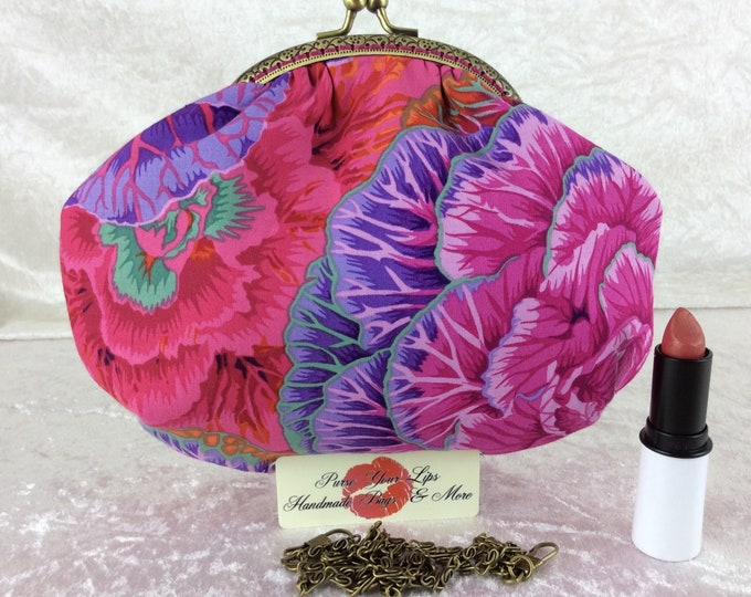 Handmade handbag purse clutch kiss clasp Alice frame bag Philip Jacobs Kaffe Fassett Cabbages Brassica