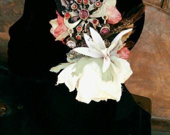 Dusty Rose and Swarovski Headdress - Art Nouveau Fantasy Faerie Tribal Fusion