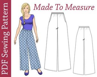 Custom size Palazzo Pants- PDF Sewing Pattern, plus size pdf patterns, pants sewing pattern, pants PDF pattern, maternity pdf pattern