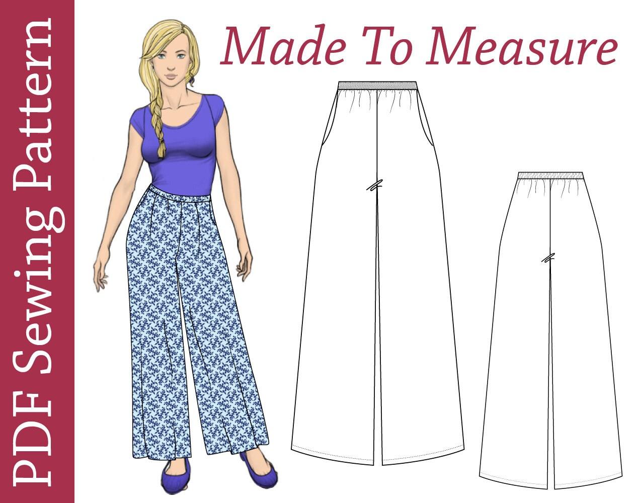 Palazzo pants custom size pdf sewing pattern plus size pdf zoom jeuxipadfo Choice Image