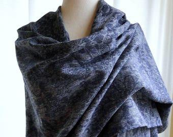 Extra large linen hemp scarf charcoal grey or denim blue