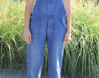 vintage cotton workwear overalls perfectly worn fits medium up to 39 waist