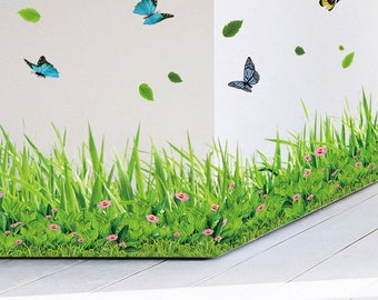 Spring colorful flower grass butterfly Skirting Line diy home decal Baseboard wall sticker Kitchen bathroom Furniture wedding