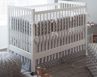 Neutral Crib Bedding, Girl Baby Crib Bedding, Boy Baby Bedding: Gray and White Dots and Stripes 3-Piece Crib Bedding Set by Carousel Designs