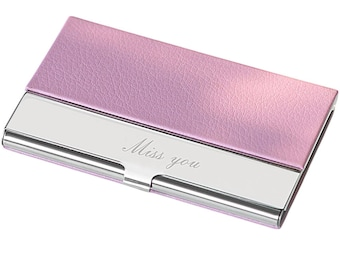 Personalized PU Business Card Holder - Free Engraving With name or Logo