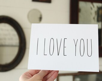 I Love You Card   Simple Greeting Card   Wedding Card   Greeting Card