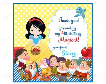 "Snow White 2.5"" Custom PRINTABLE Thank you Tags-Snow White and the 7 Dwarfs Square Tags-Personalized Thank you Stickers D.I.Y-Digital File"