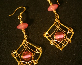 Brass wire-wrapped earrings with vintage soft pink beads.